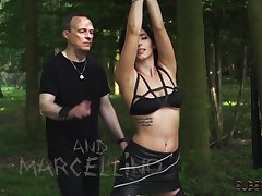 Bondage and BDSM Teen punished and fucked outdoors
