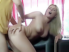 Lovely blonde has her moist pussy pumped