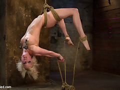 Hot Blond Suffers Though A Brutal Category 5 Inverted Suspension.How Many Orgasms Can She Take?  - HogTied